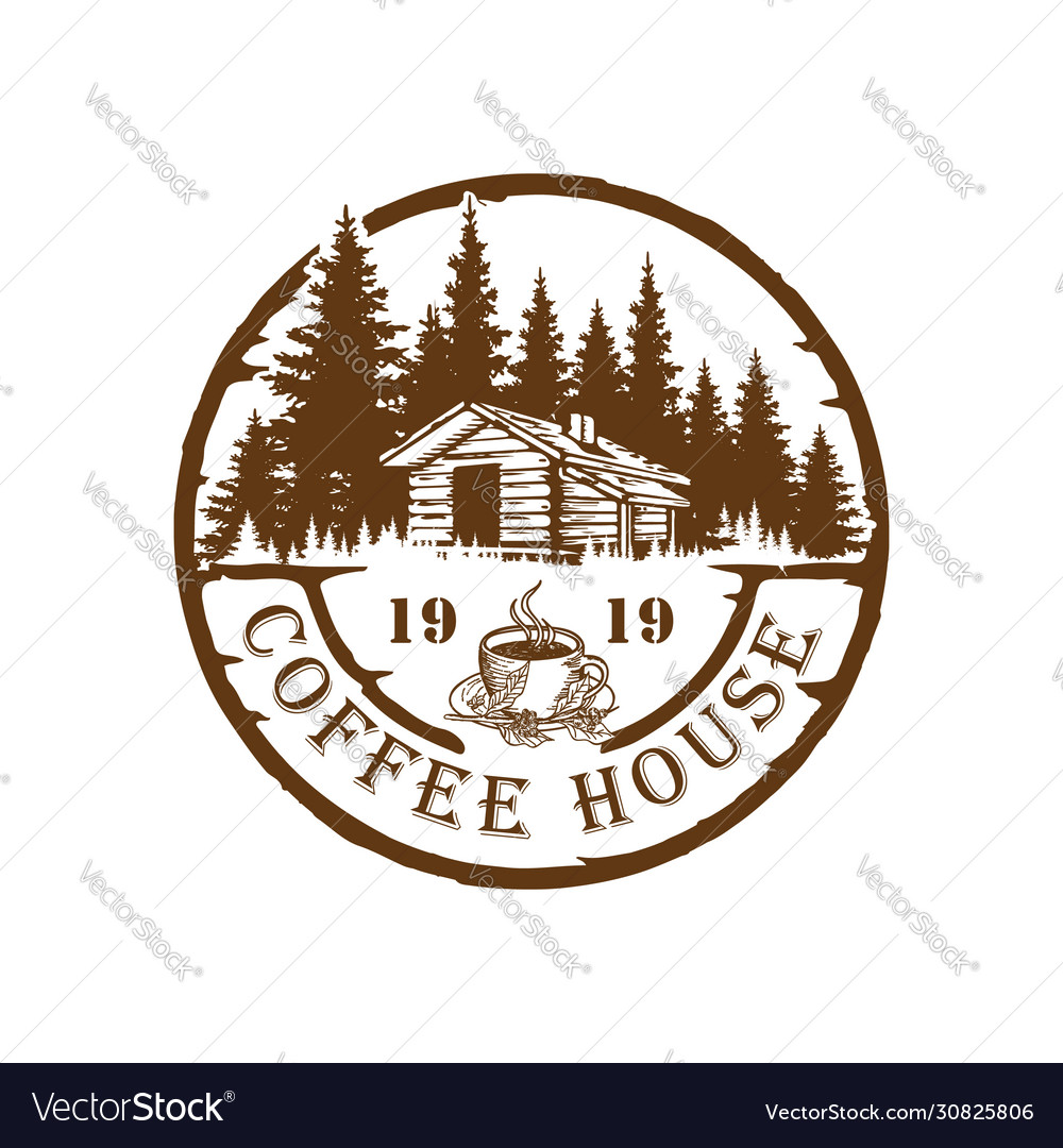 Retro vintage badge stamp coffee forest logo
