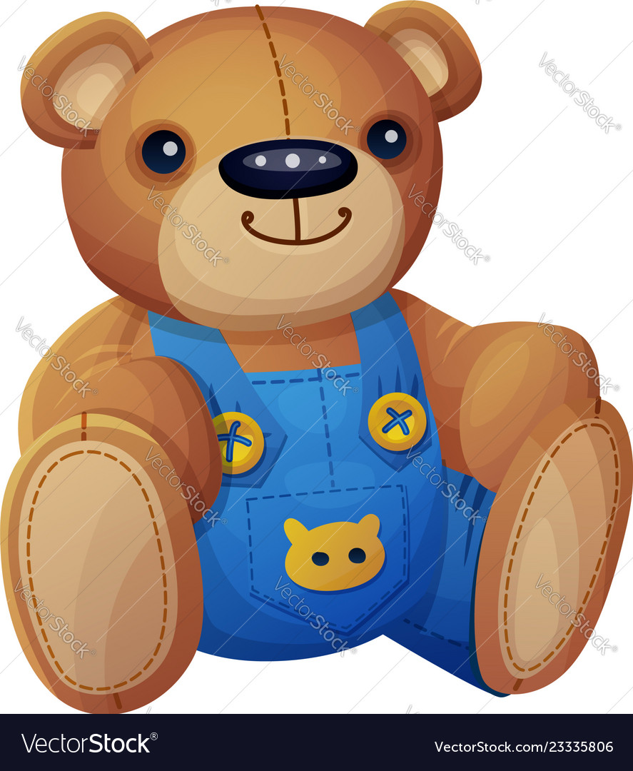 Teddy bear in overalls isolated on white