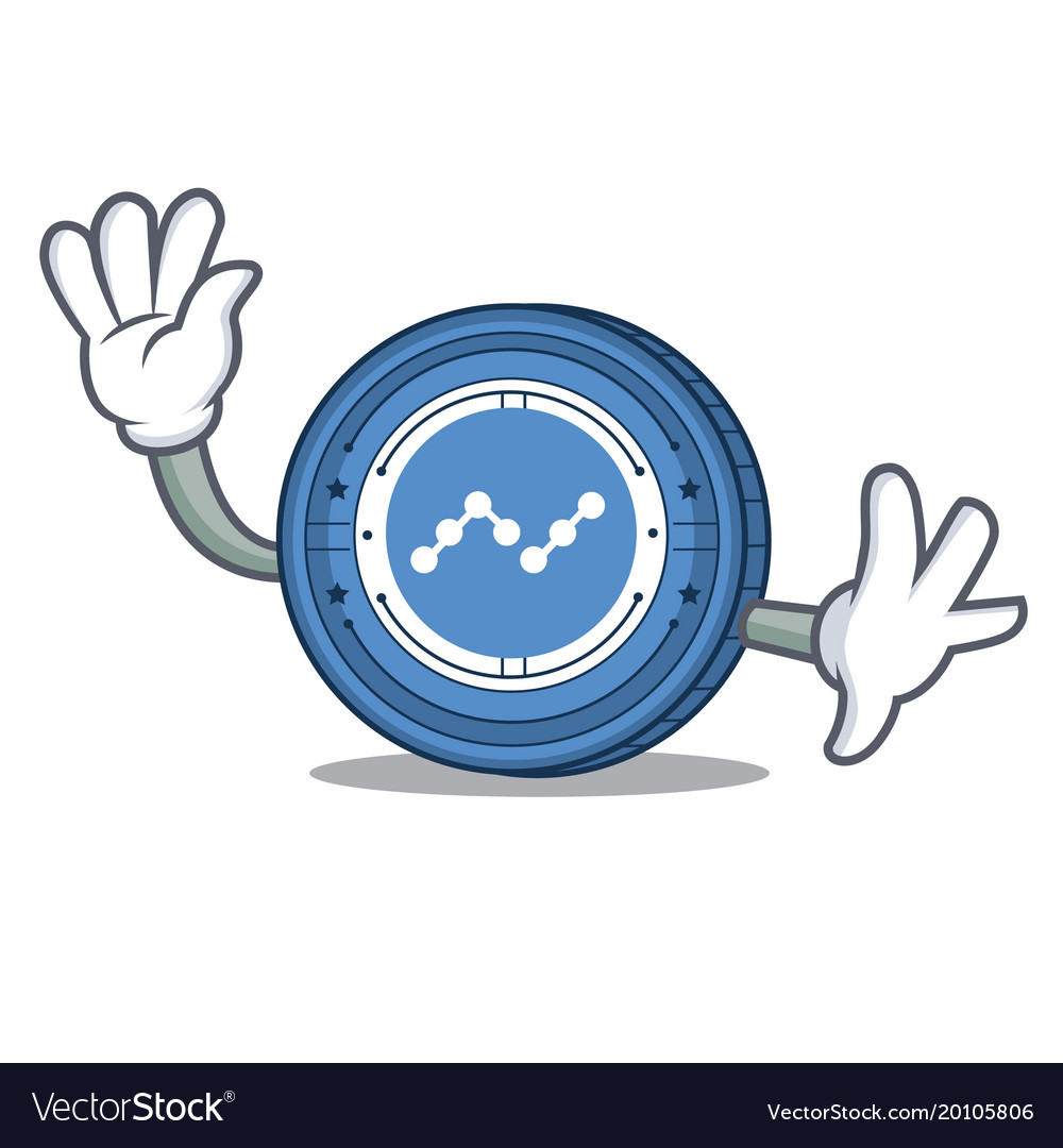 Waving nano coin character cartoon vector image