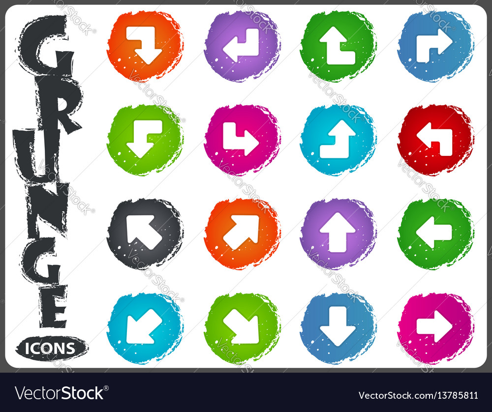 Arrows icons set in grunge style vector image