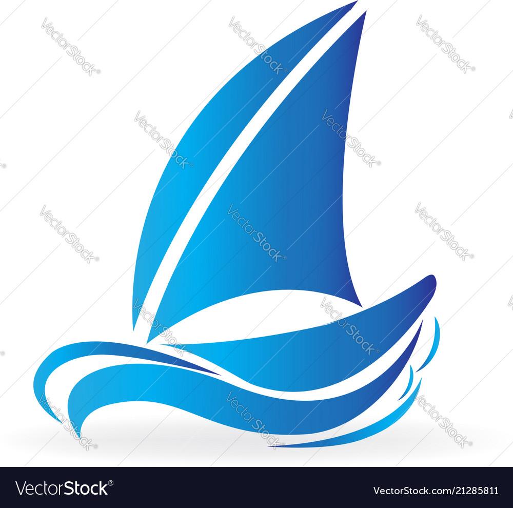 Blue boat in the sea icon