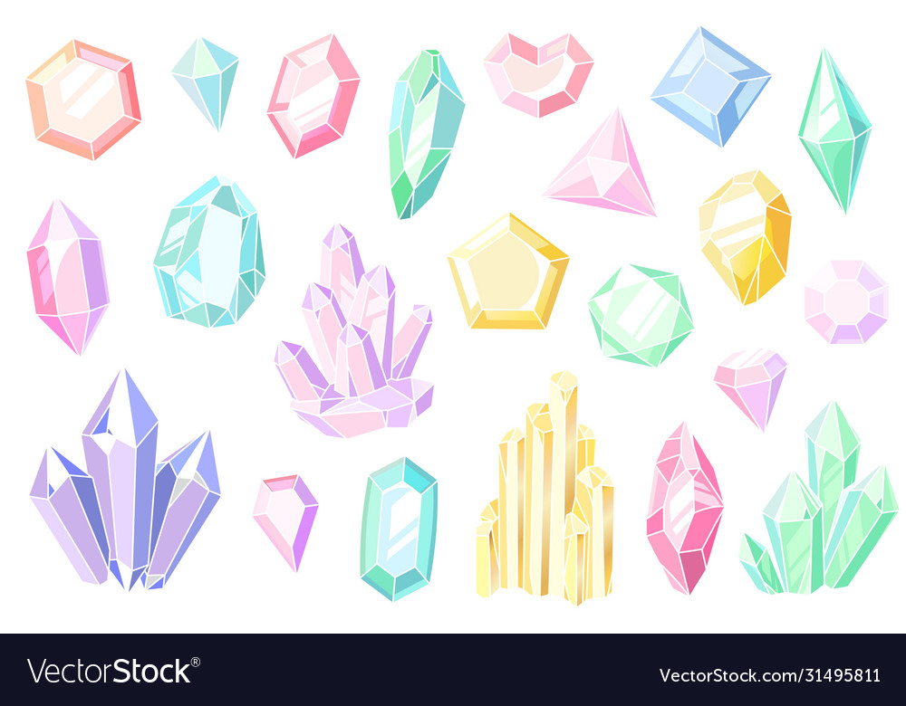 Crystals and gems pink and purple gemstones
