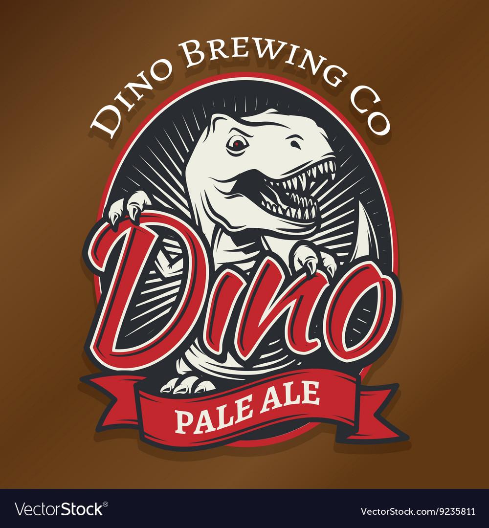 Dino craft beer logo concept T-rex bar