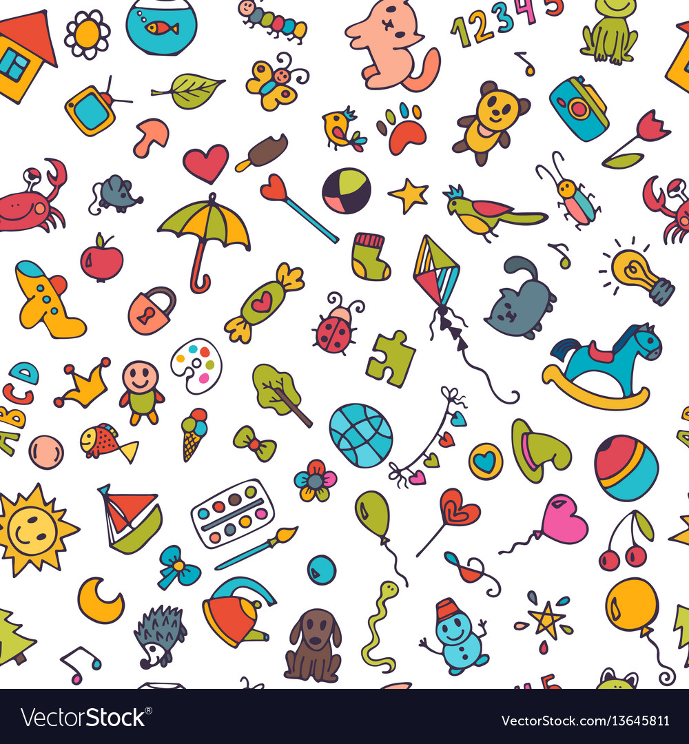 Doodle children background seamless pattern for