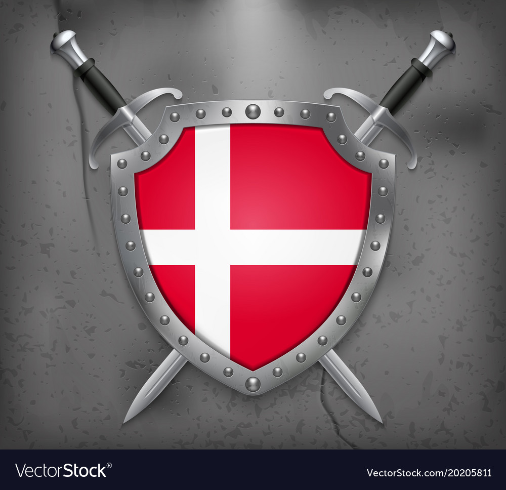 Flag of denmark the shield with national flag vector image