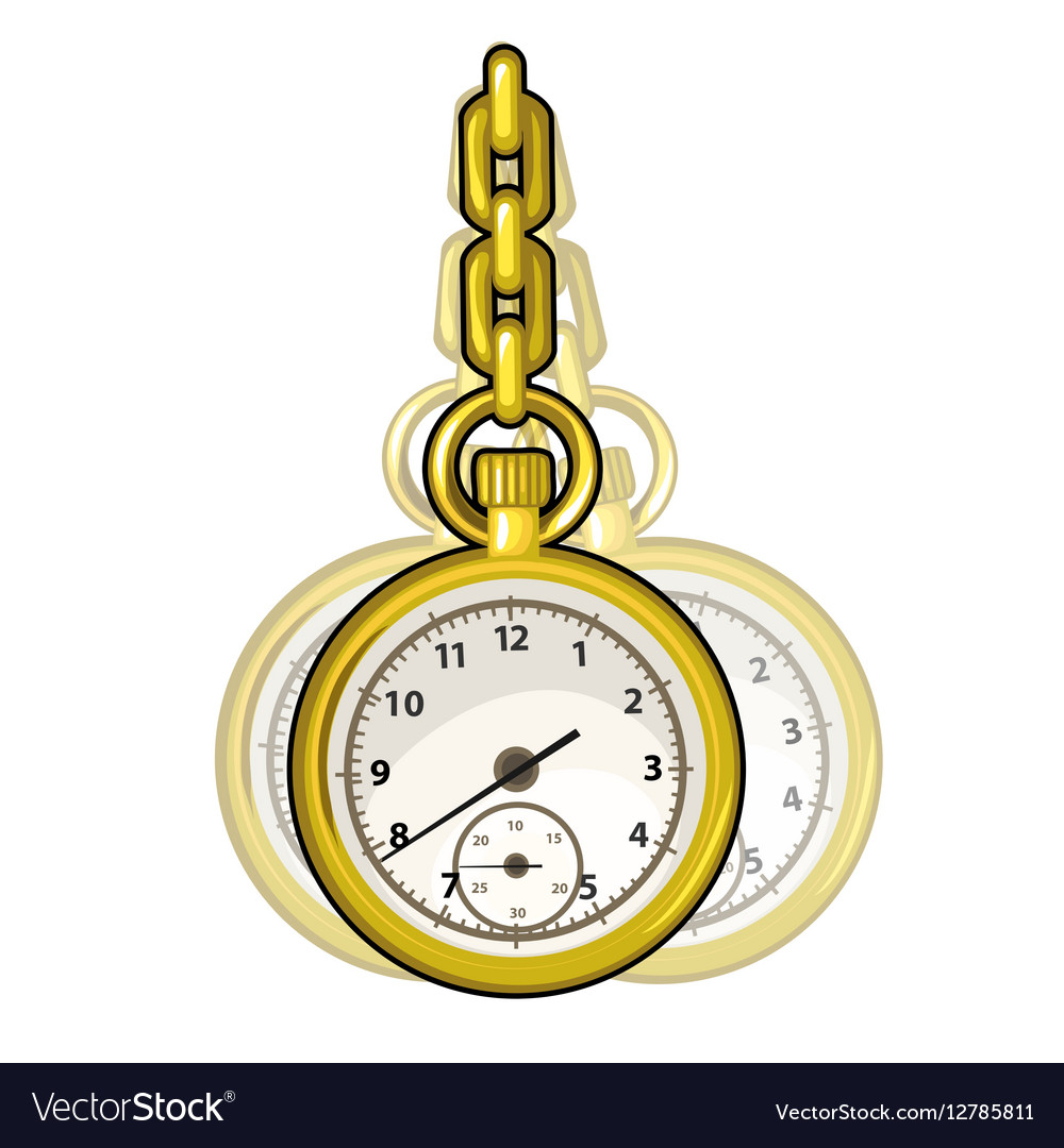 Gold vintage watch on a chain isolated vector image