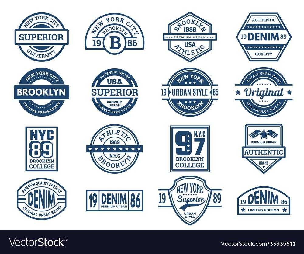 Jeans emblems vintage typography labels urban