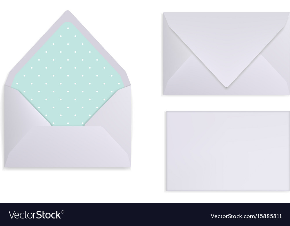 Mock-up of light grey white or silver envelope vector image