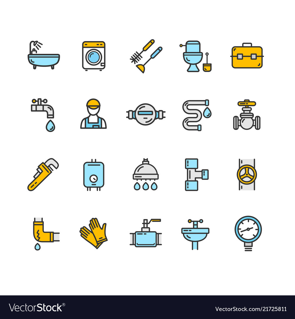 Plumbing signs color thin line icon set
