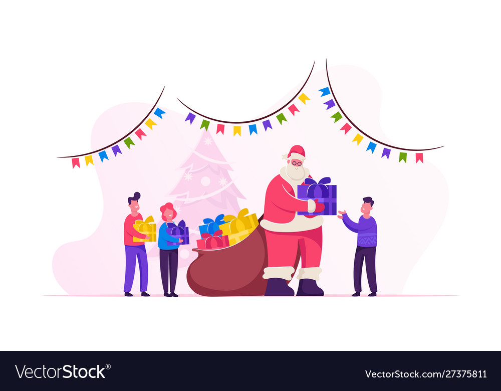 Santa claus character giving gifts to happy
