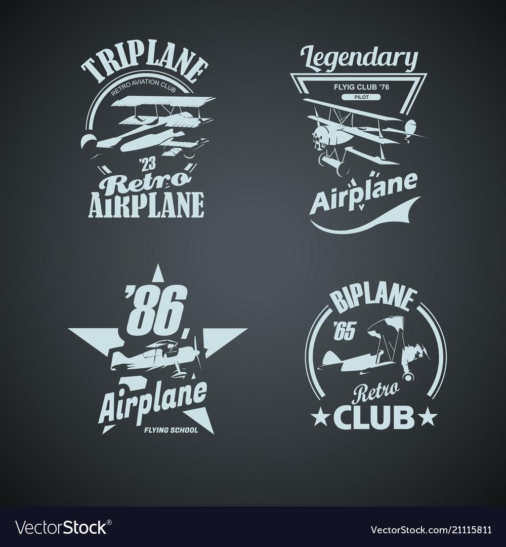 Set of retro airplanes vintage logotypes