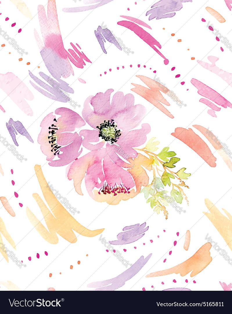 Spots watercolor seamless Flowers