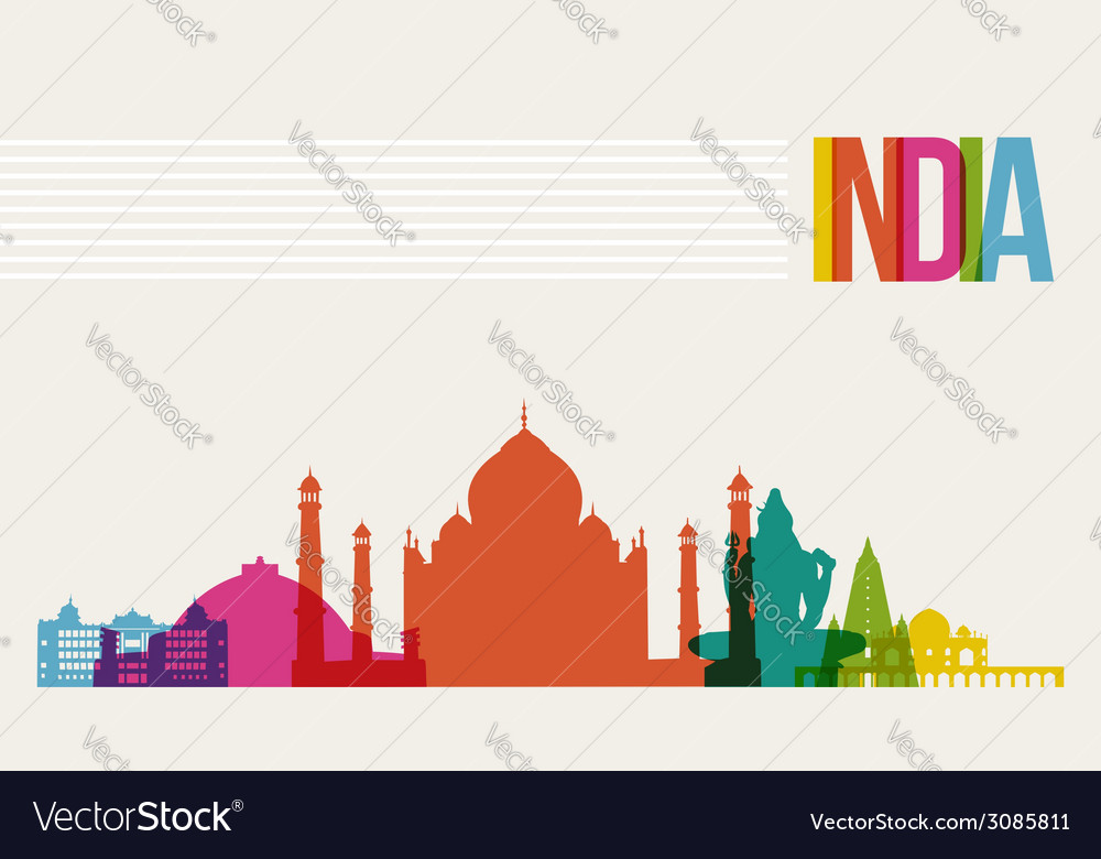 Travel India destination landmarks skyline