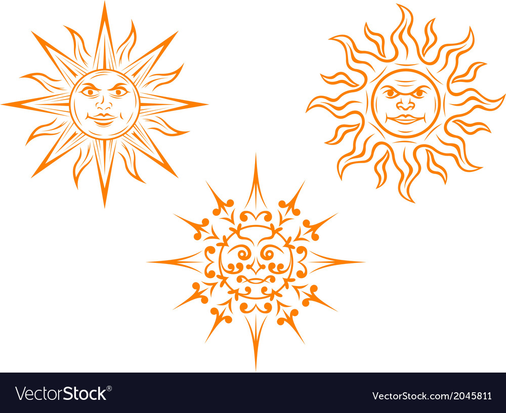 Vintage sun mascots vector image