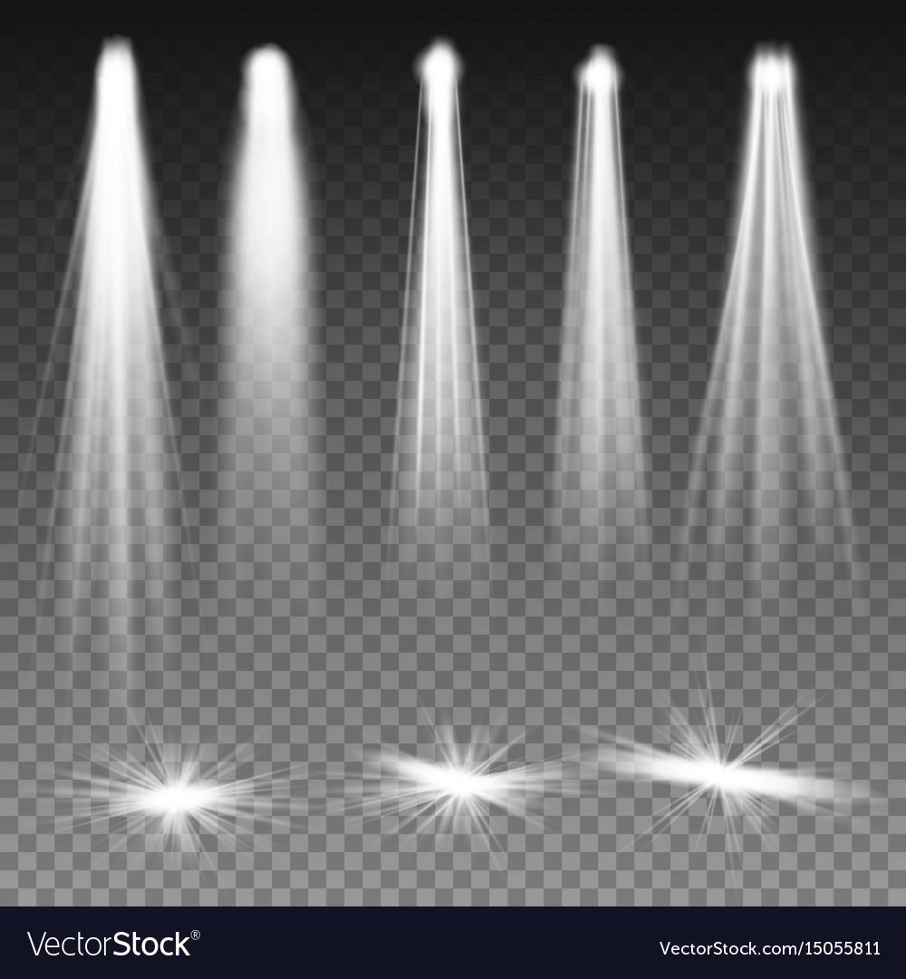 White beam lights spotlights scene vector image