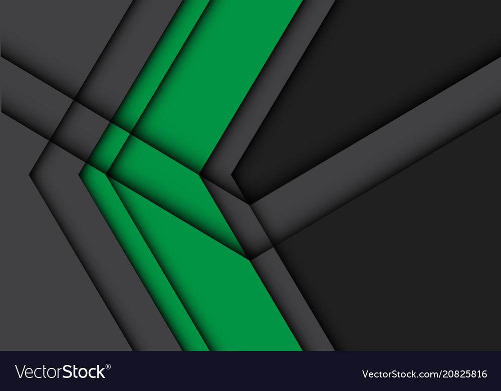 Abstract green arrow on gray design modern vector image