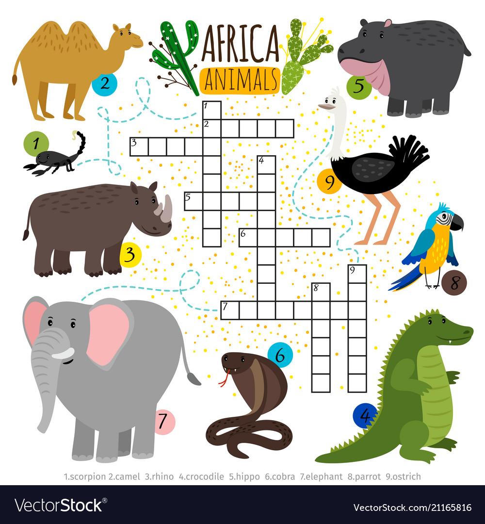 African safari animals crossword