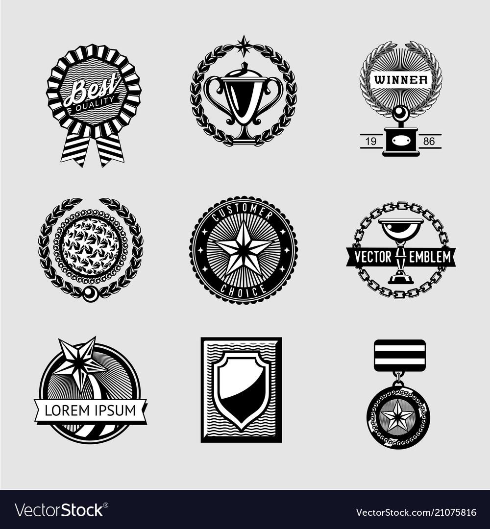 Awards badge vintage set collection of vector image