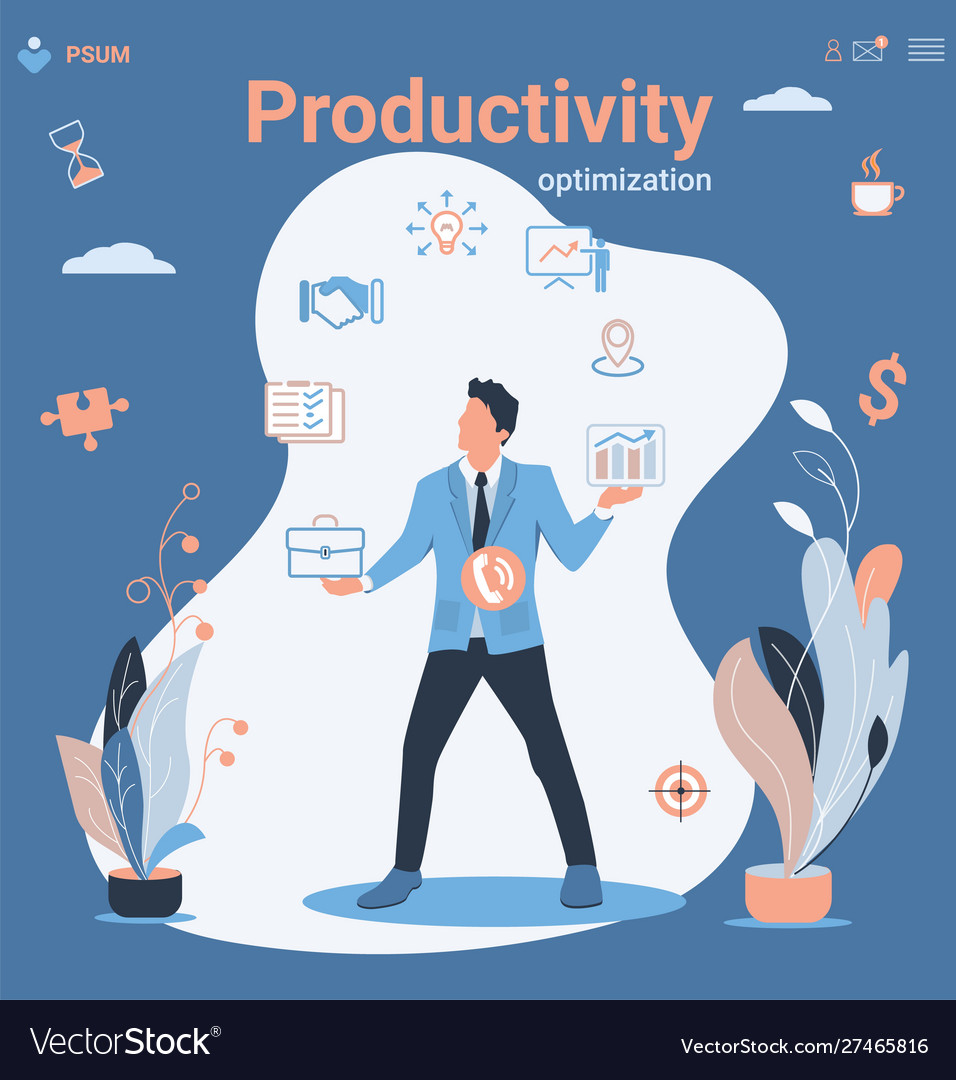 Businessman and multitasking productivity