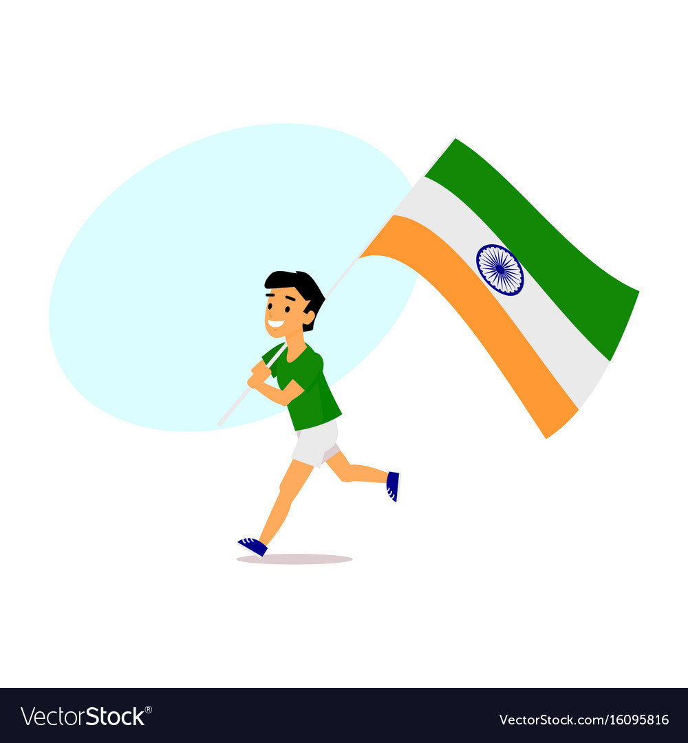 Cartoon indian boy running with big indian flag