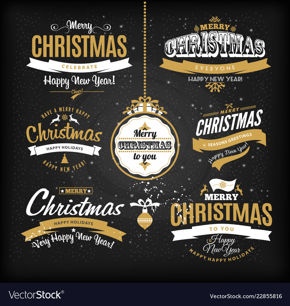 Christmas and happy new year letteting in gold and