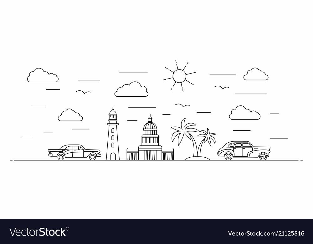 Cuba panorama line style