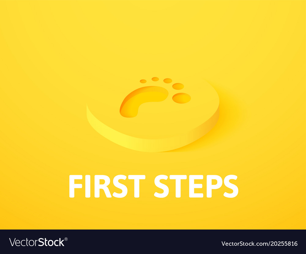 First steps isometric icon isolated on color