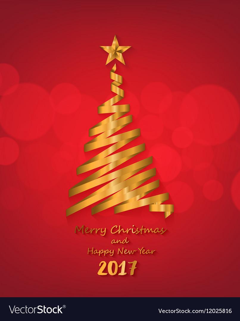 Gold ribbon make Christmas tree shape vector image