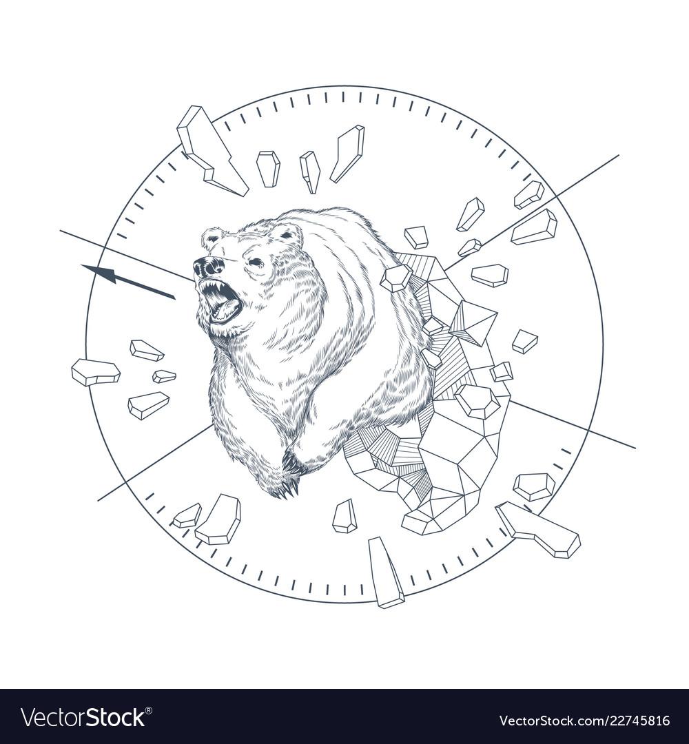 Hand drawn graphic emblem with wild bear