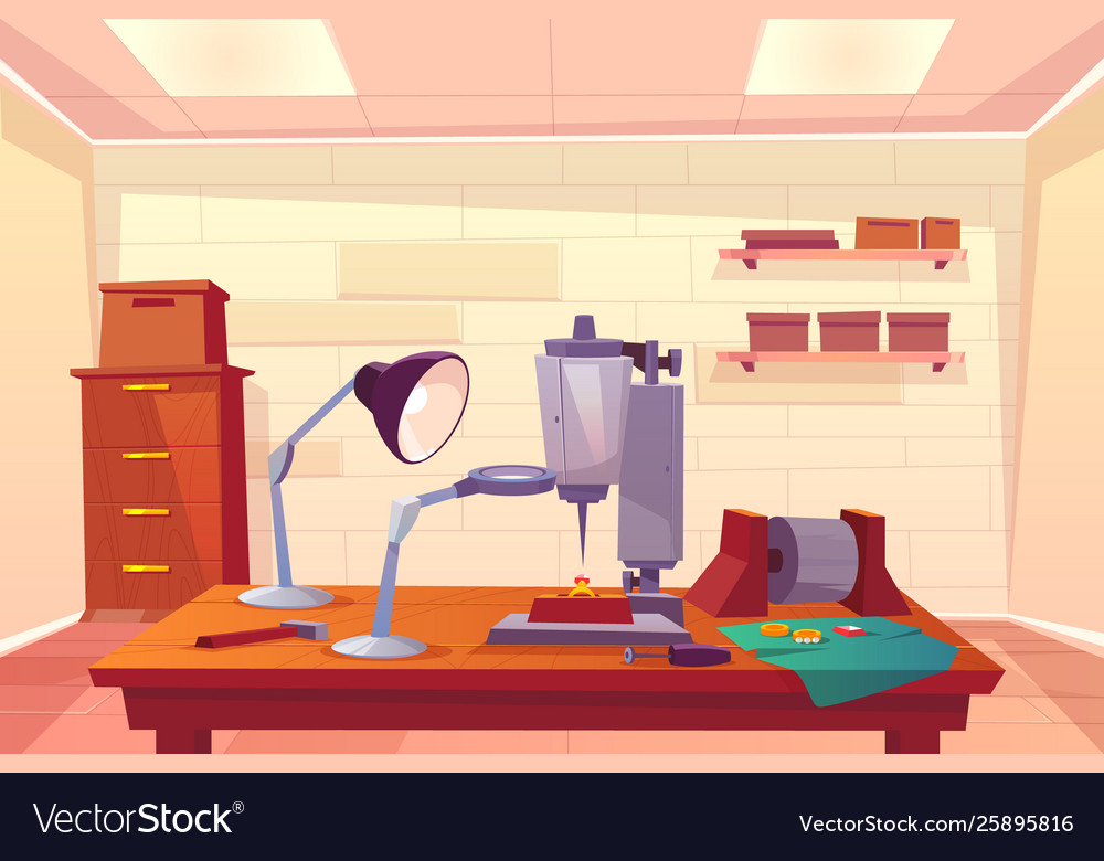 Jeweler workplace with work tools cartoon