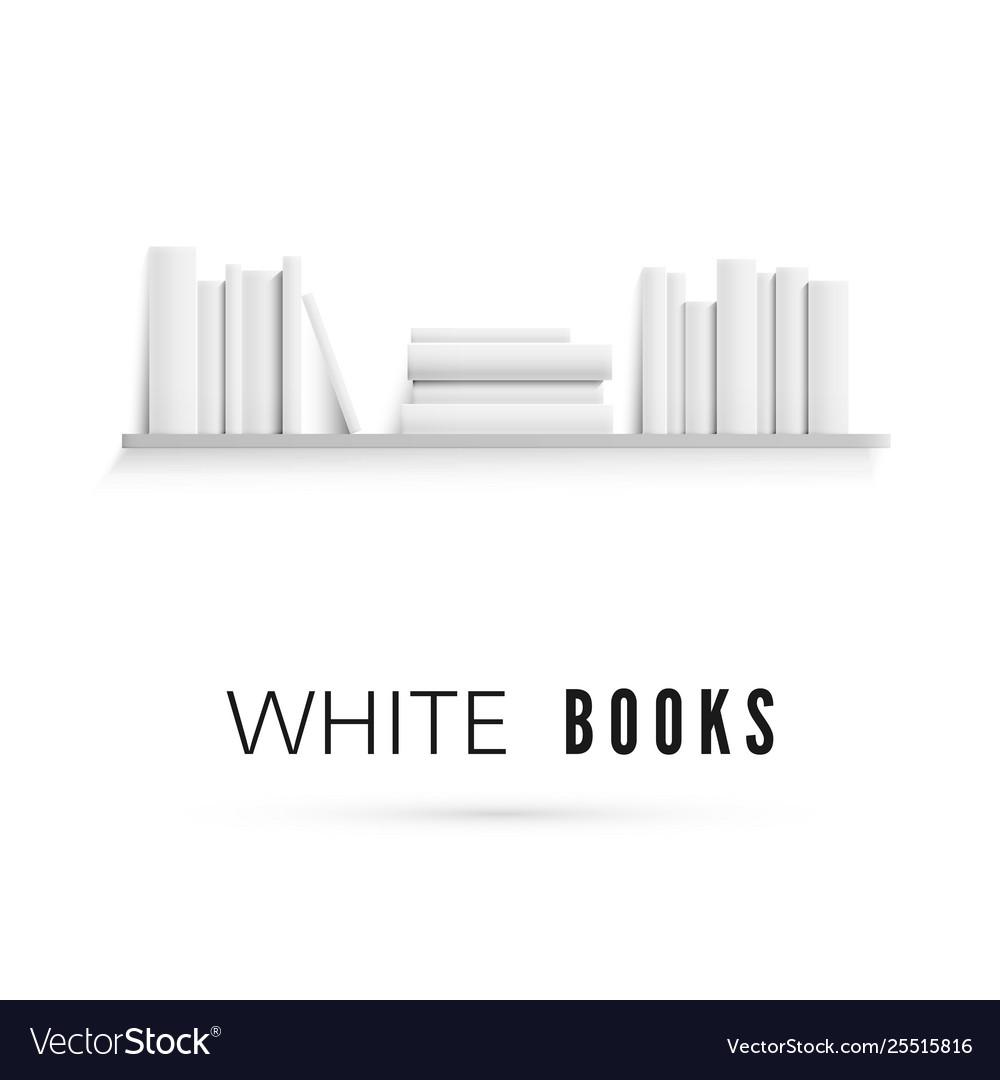 Mockup bookshelf with blank white books on
