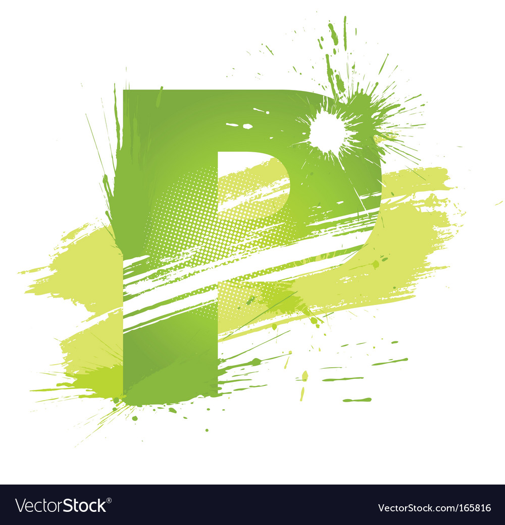 Paint splashes font letter p