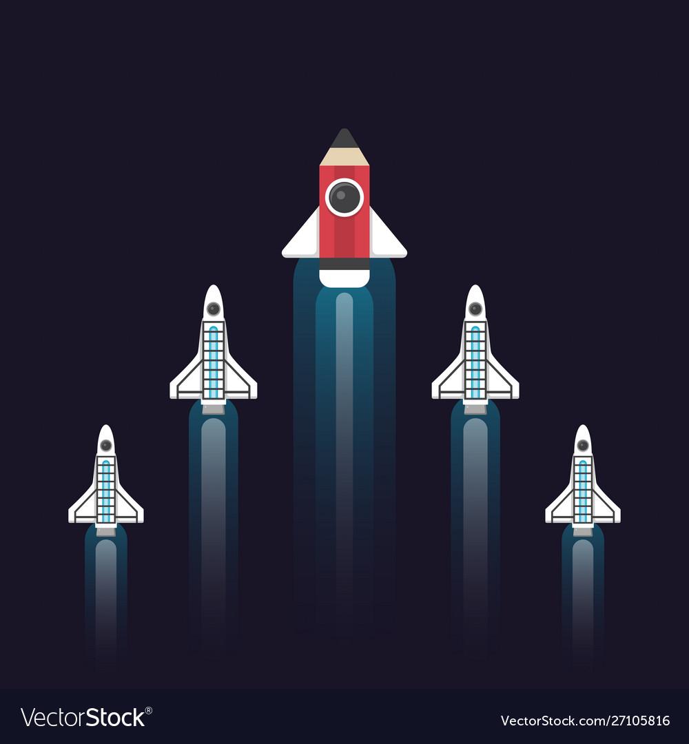 pencil rocket leader royalty free vector image