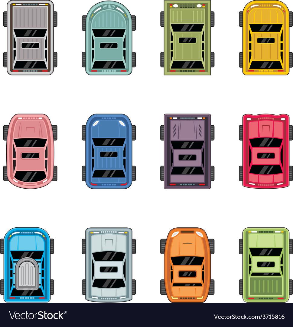 Top view automobiles vector image