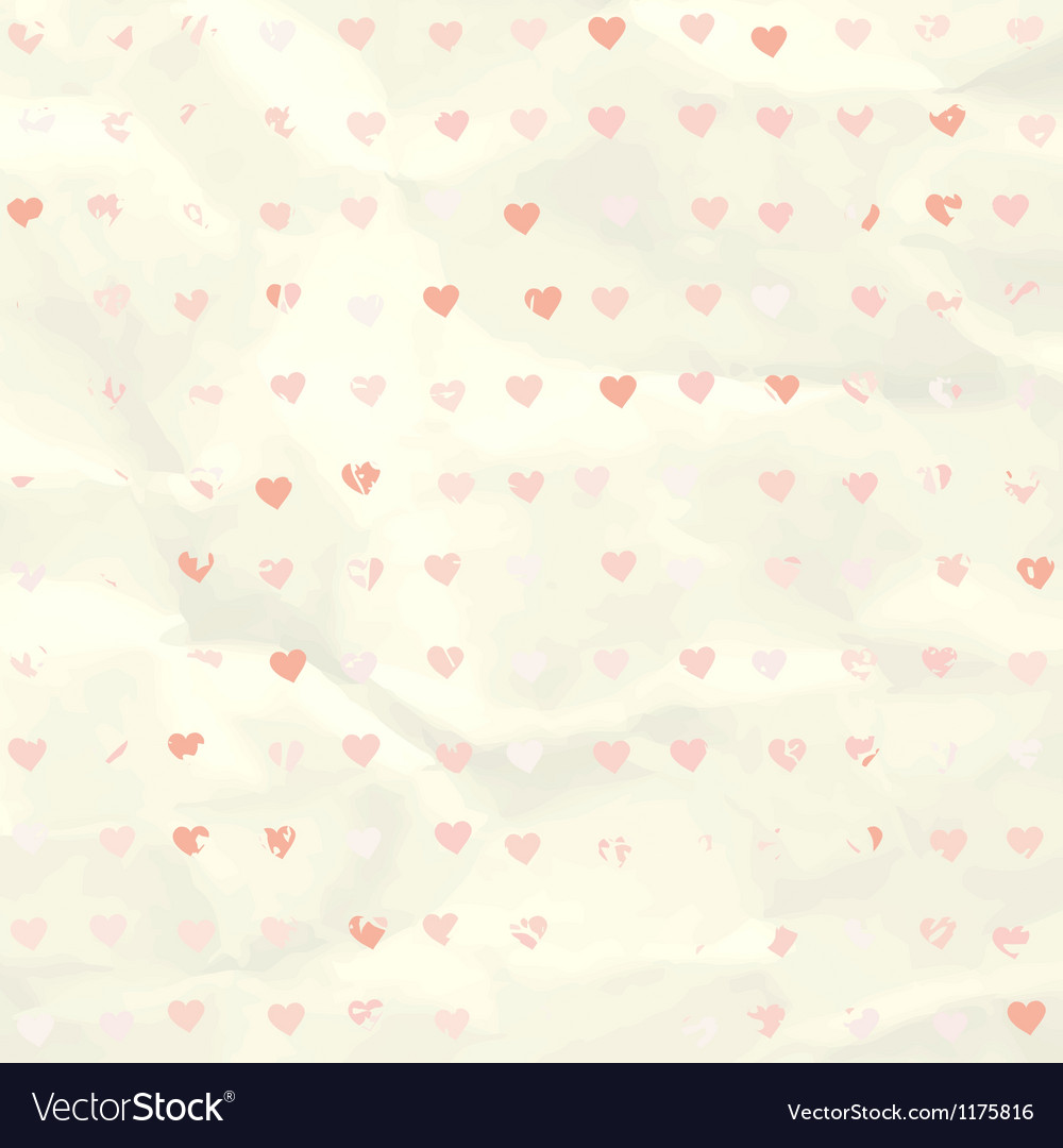 Watercolor heart pattern on paper texture EPS 8