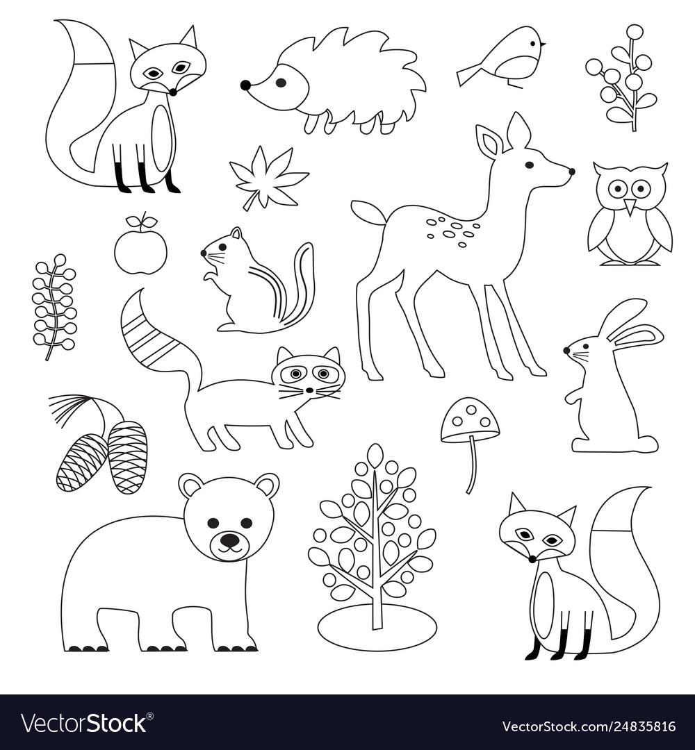 Woodland animal digital stamps