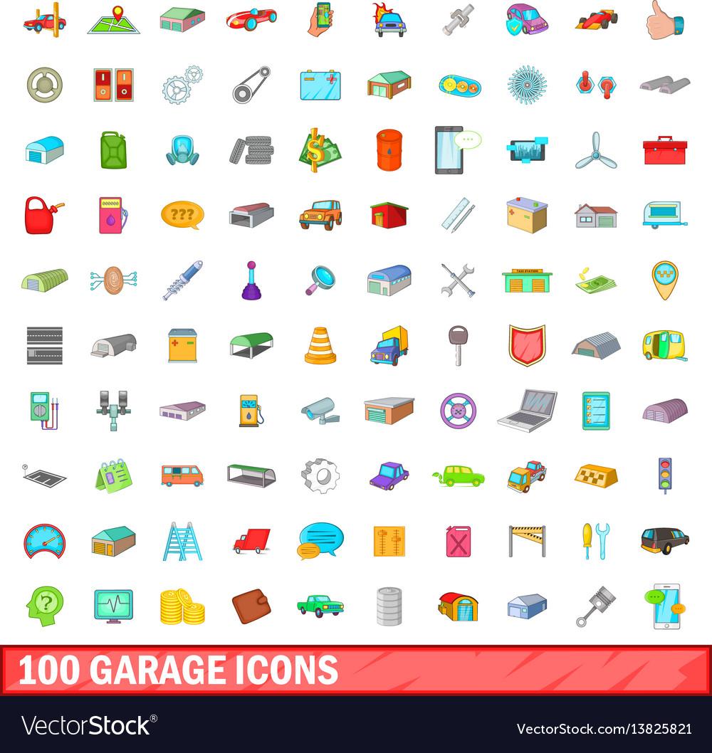 100 garage icons set cartoon style