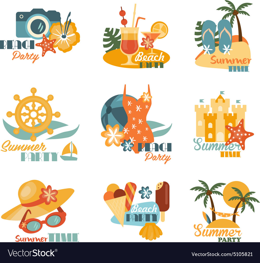 Beach And Summer Labels Set