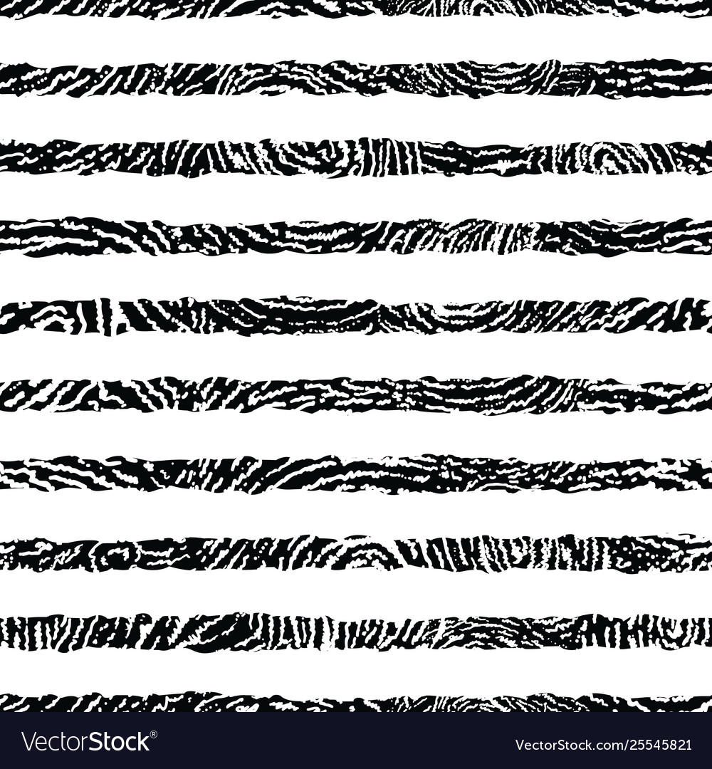 Black and white textured stripes seamless pattern