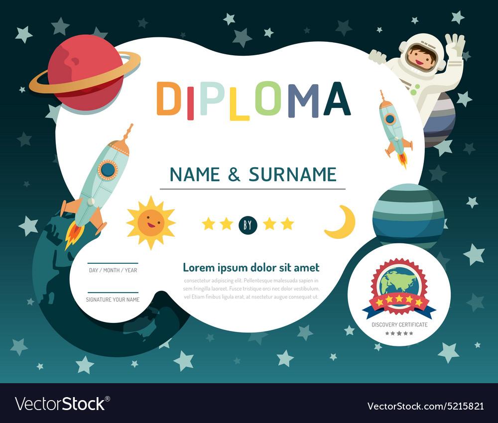 Certificate kids diploma kindergarten template lay vector image