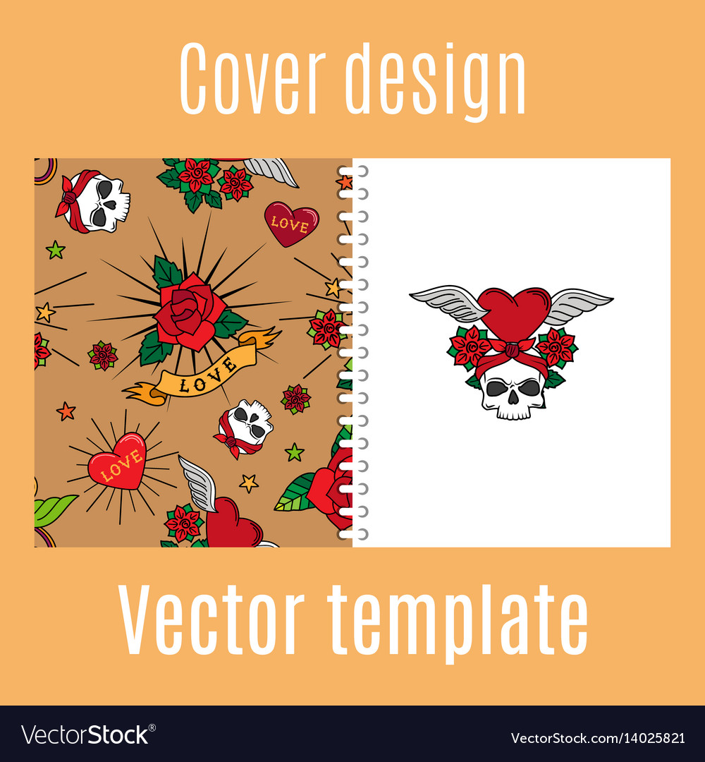 Cover design with vintage tattoo pattern