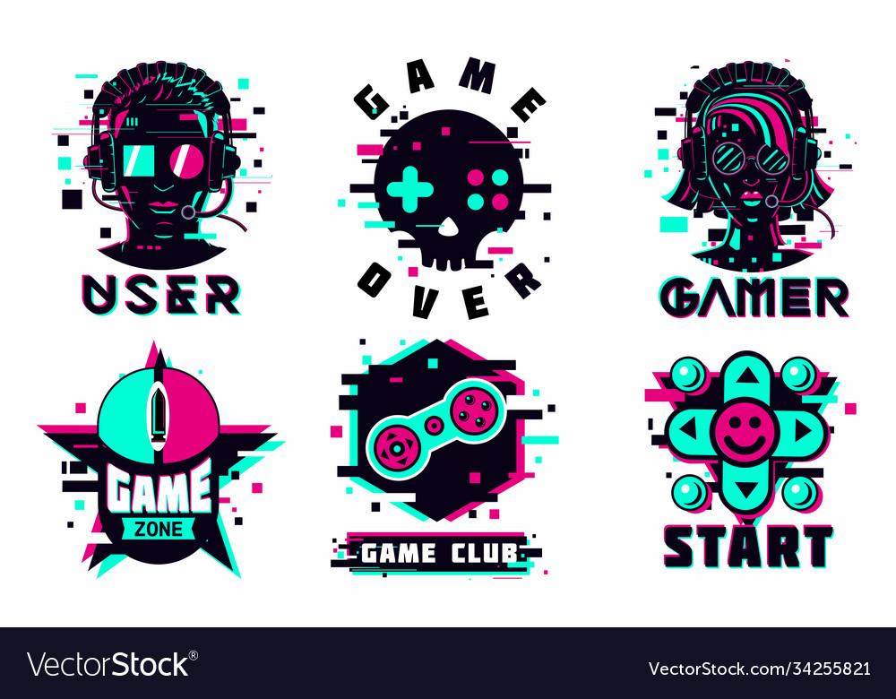 Game team emblem set glitch style signs