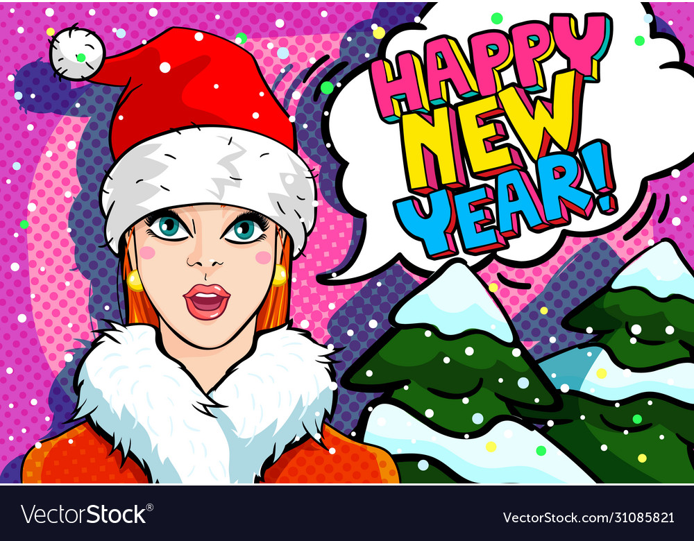 Girl in red hat santa claus