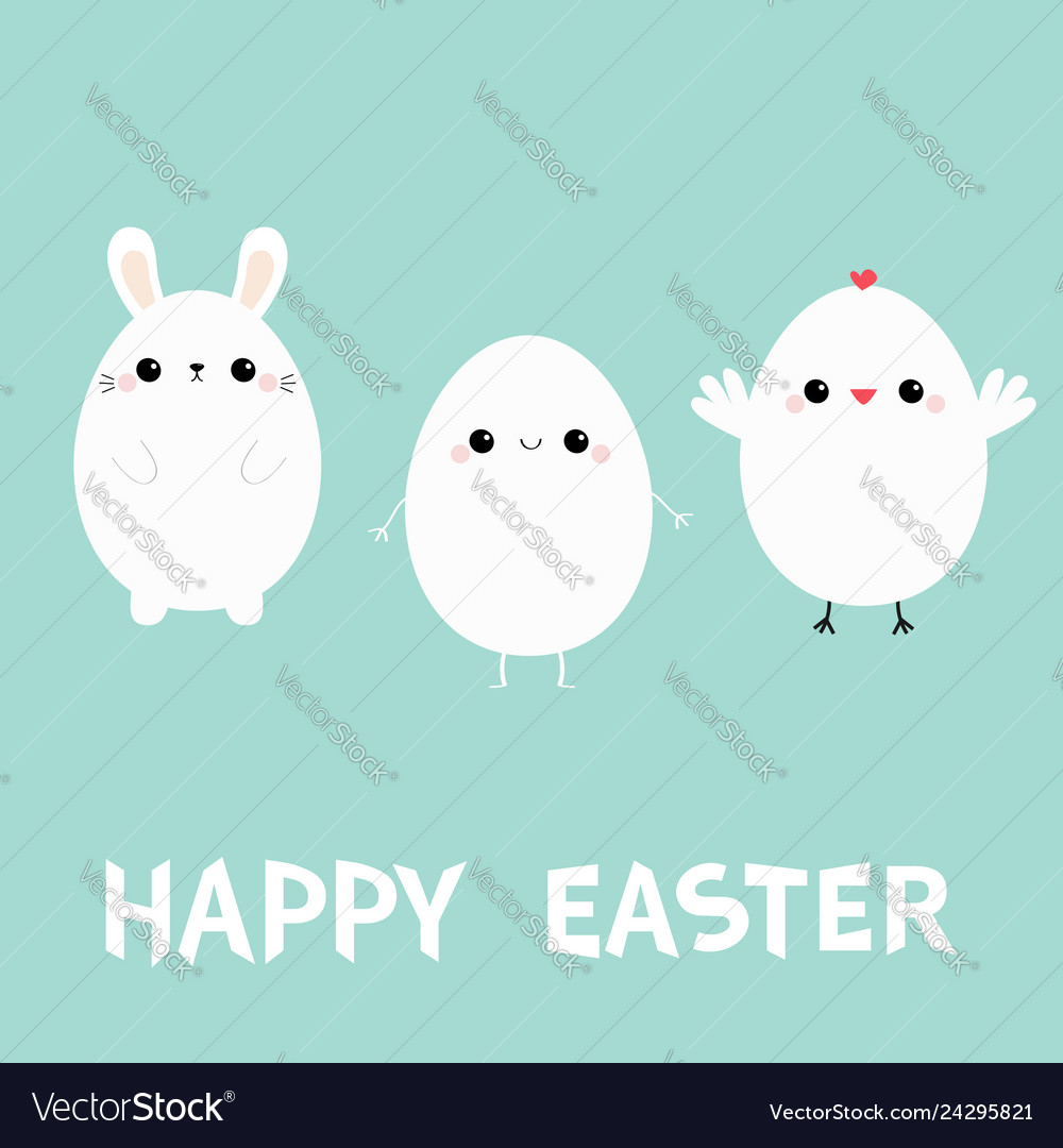 Happy easter bunny head face chicken bird egg