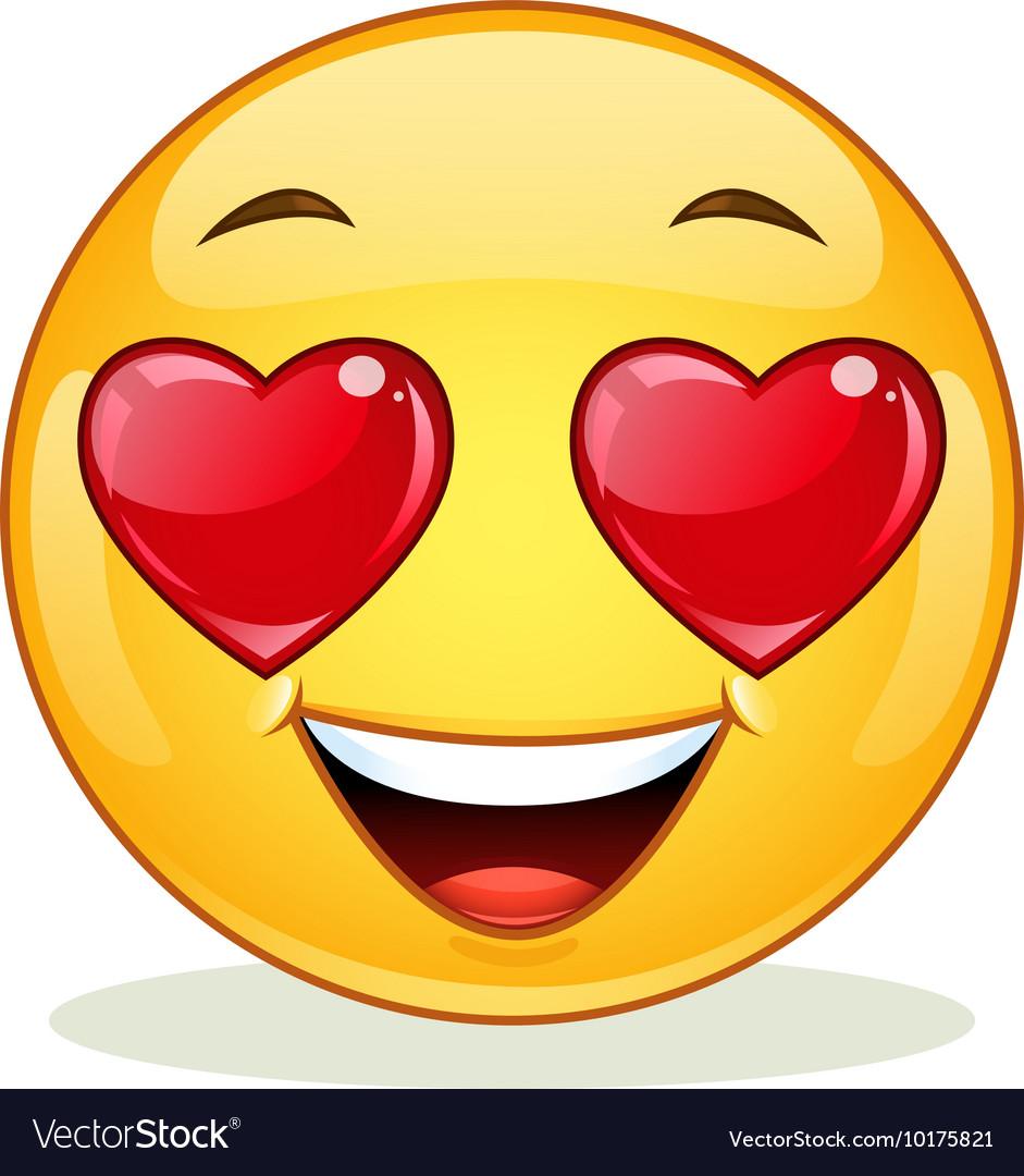 In love emoticon vector image