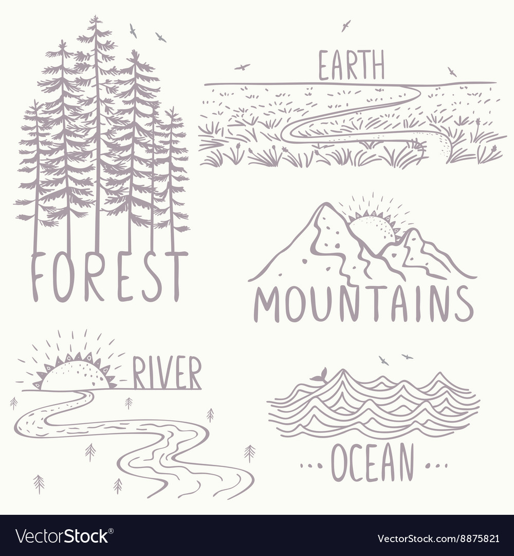 Magnificent nature set vector image