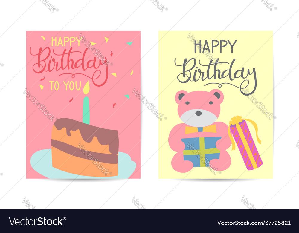Set cute creative birthday card templates hand