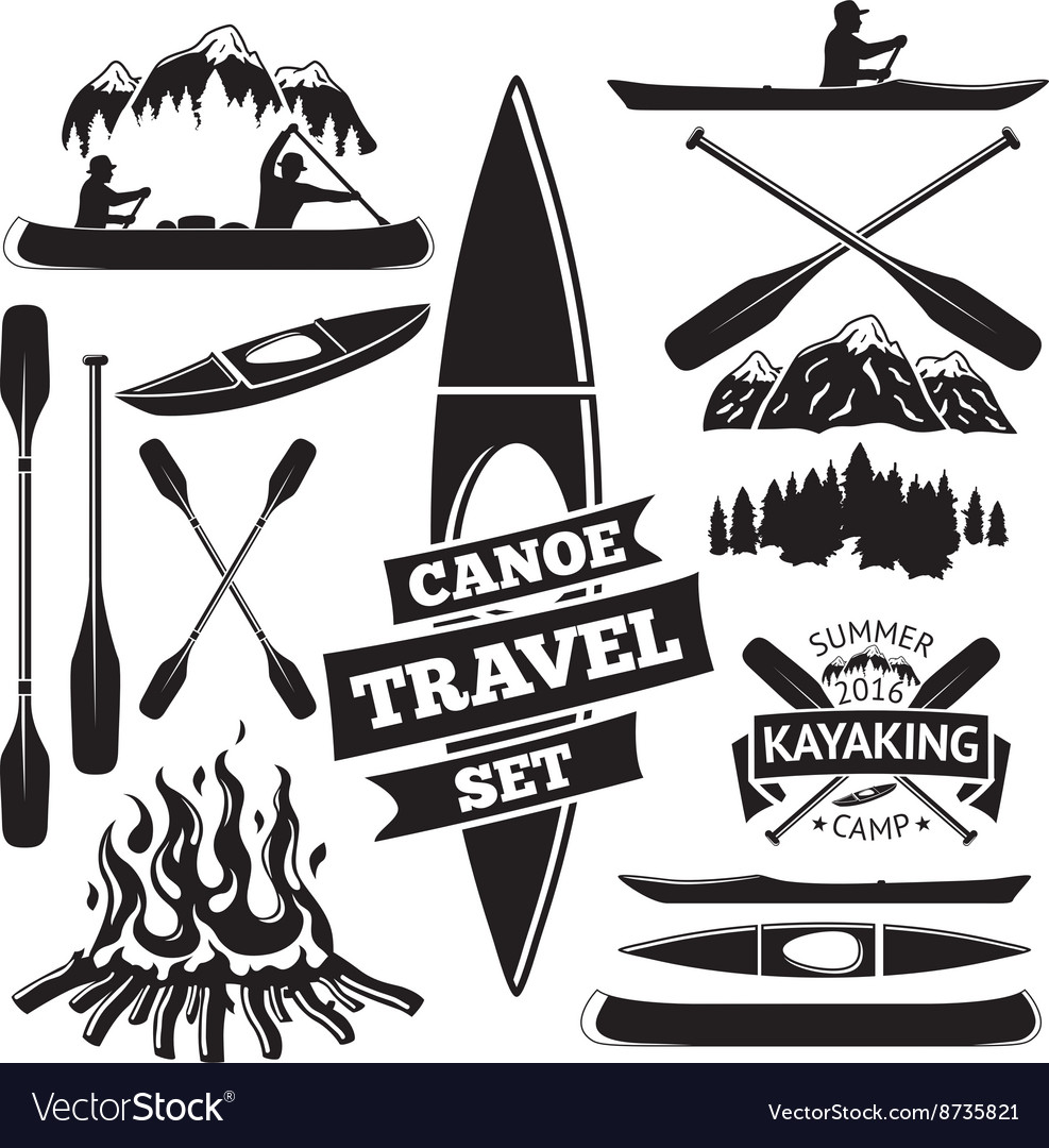 Set of canoe and kayak design elements Two man in