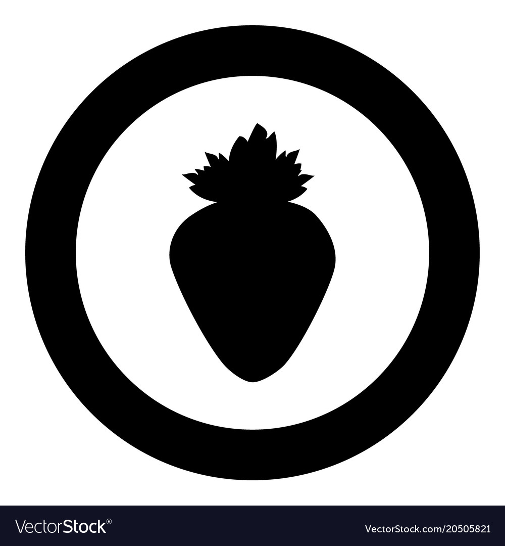 The strawberry the black color icon in circle or