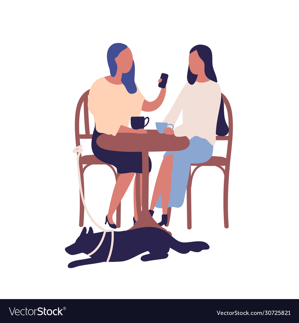 Two Cartoon Girl Friend Sit At Table In Cafe Talk Vector Image